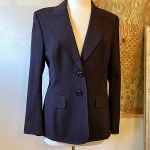 💜Escada lined purple pinstripe jacket sz 40